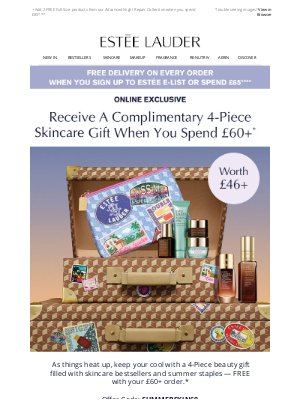 Estee Lauder (UK) - Your Complimentary 4-Piece Skincare Gift Worth £44+, When You Spend £65+*