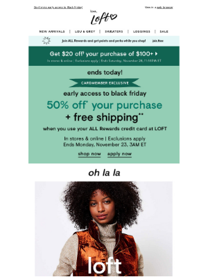 Lou & Grey - ENDS TODAY: 50% OFF for cardmembers (and 40% OFF for everyone else)