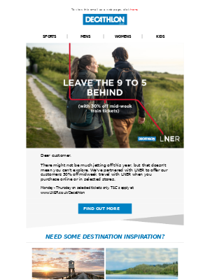 Decathlon (UK) - 30% off mid-week train tickets with LNER!