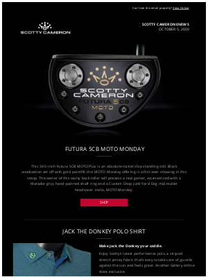 Scotty Cameron - Scotty Cameron Enews - MOTO Monday Gallery Release - October 5, 2020
