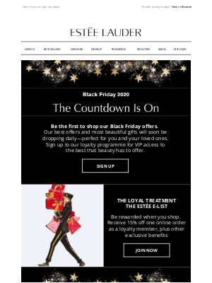 Estee Lauder (UK) - Black Friday 2020 – The Countdown is on!