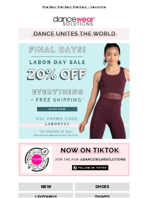 Dancewear Solutions - Say yes to 20% off