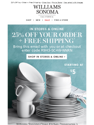 Stock Up & Save on Dinnerware, Glassware, Table Linens & More! + Your Code for 25% Off Inside!
