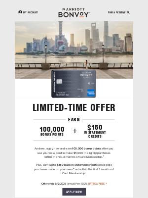 Marriott International - There's Still Time: Earn 100,000 Bonus Points