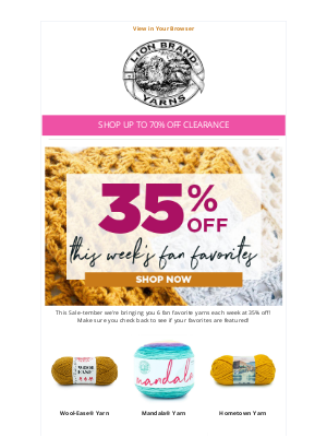 Lion Brand Yarn - Sale-Tember: Savings Up to 70% Off!