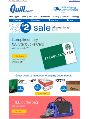Quill - CONFIRMED: Receive a Starbucks Card  with Your Order + $2 Sale