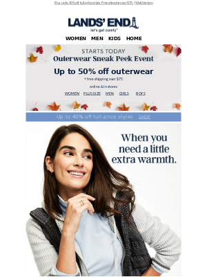 Lands' End - Starts today! Up to 50% off Sneak Peek Outerwear Event