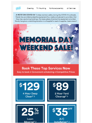 Memorial Day Savings Start NOW!!! Save 25% off Top Services!!