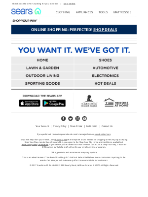 Sears - REMINDER: Your items are available
