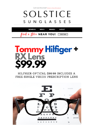 Solstice Sunglasses - Tommy Hilfiger Optical $99.99 + Free Single Vision Prescription Lens