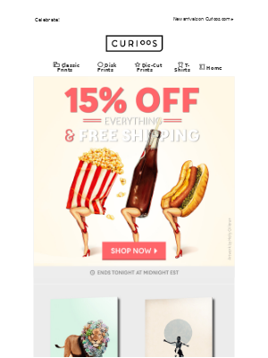 15% Off Everything & Free Shipping!