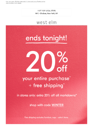 😍😍 20% off everything—but it all ends TONIGHT!