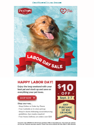 Pet Pros - Don't miss our Labor Day Sale! Starts tomorrow!