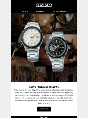 Seiko - Introducing Presage Style60's: Vintage design meets contemporary elements.