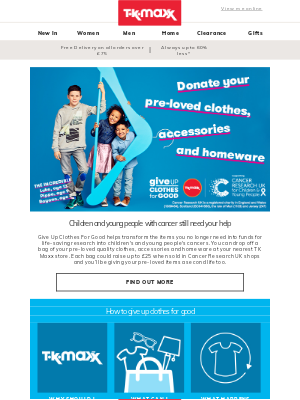 TK Maxx (UK) - Help more children & young people survive cancer