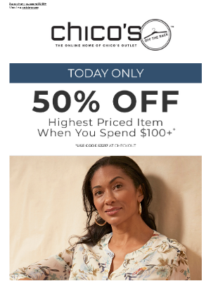1 DAY ONLY: Half off highest priced item