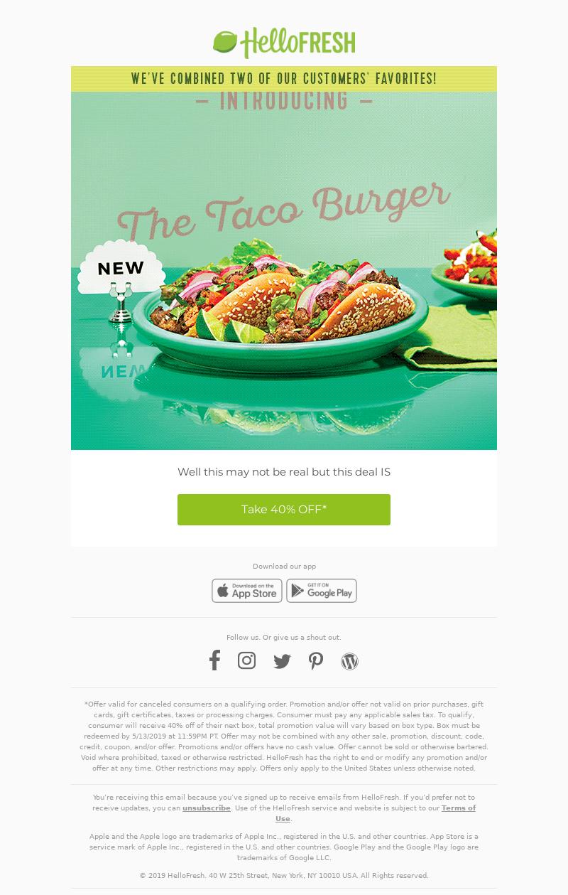HelloFresh Logo Introducing the Taco Burger. Happy April Fools' Day! Well t
