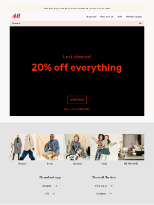 H&M (UK) - LAST CHANCE: Get 20% off everything