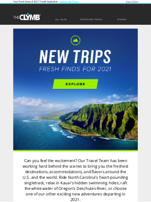The Clymb -  New Trips! 🎉  Get a Jump On Your Future Travel Plans