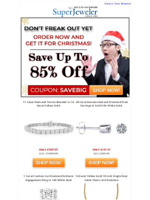 SuperJeweler - You Waited. Eeek! Not To Worry, Christmas Guaranteed at 80% Off