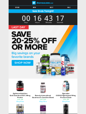 Bodybuilding - ⏰ Ends Today: Save up to 25% Off Top Brands! ⏰