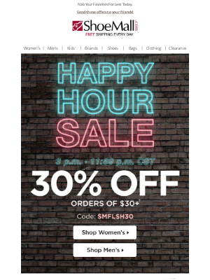ShoeMall - Happy Hour Savings - 30% Off!