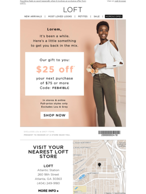 Win back email strategy from LOFT