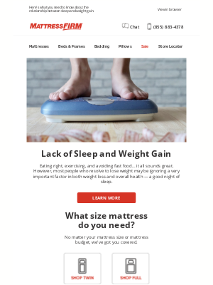 Mattress Firm - Is lack of sleep affecting your weight?