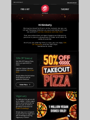 Pizza Hut (UK) - 50% through January means 50% Off Takeaway!