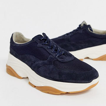 ASOS WHITE suede sneakers in navy with chunky sole
