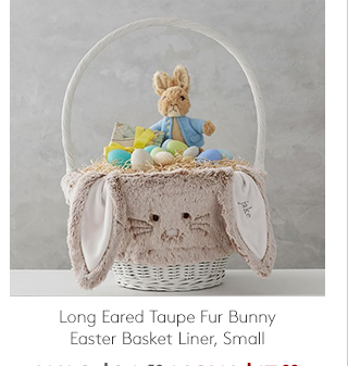 LONG EARED TAUPE FUR BUNNY EASTER BASKET LINER, SMALL