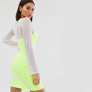 Missguided slip dress with mesh overlay