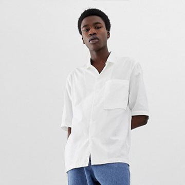 ASOS WHITE loose fit shirt in white textured fabric