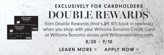 EXCLUSIVELY FOR CARDHOLDERS - DOUBLE REWARDS(1) - 8-28 - 9/10 - LEARN MORE - APPLY NOW