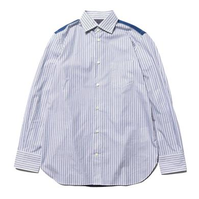Junya Watanabe MAN  Cotton Stripe x Nylon Grosgrain Washed Top White/Navy x Blue