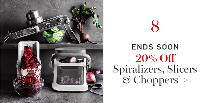 20% Off Spiralizers, Slicers & Choppers*