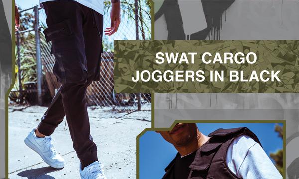 SWAT Cargo Joggers In Black