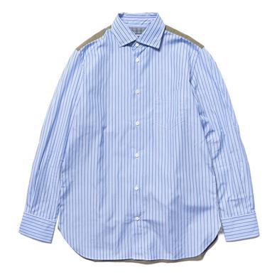 Junya Watanabe MAN  Cotton Stripe x Cotton Gabardine Top Blue/White x Khaki