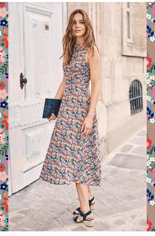 Clarissa Midi Dress - Cameo Blue Country Garden