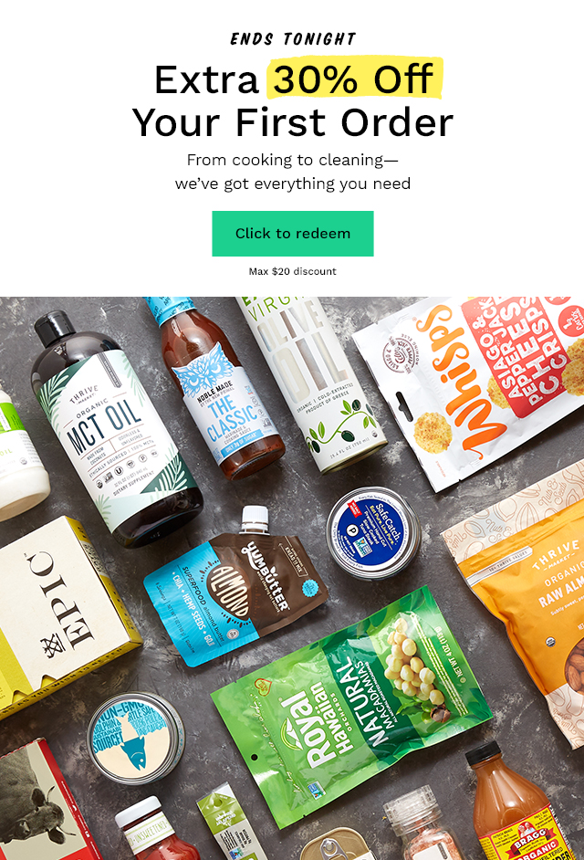Ends Tonight: Extra 30% Off Your First Order. From cooking to cleaning we've got everything you need. Click to redeem. Max $20 discount.