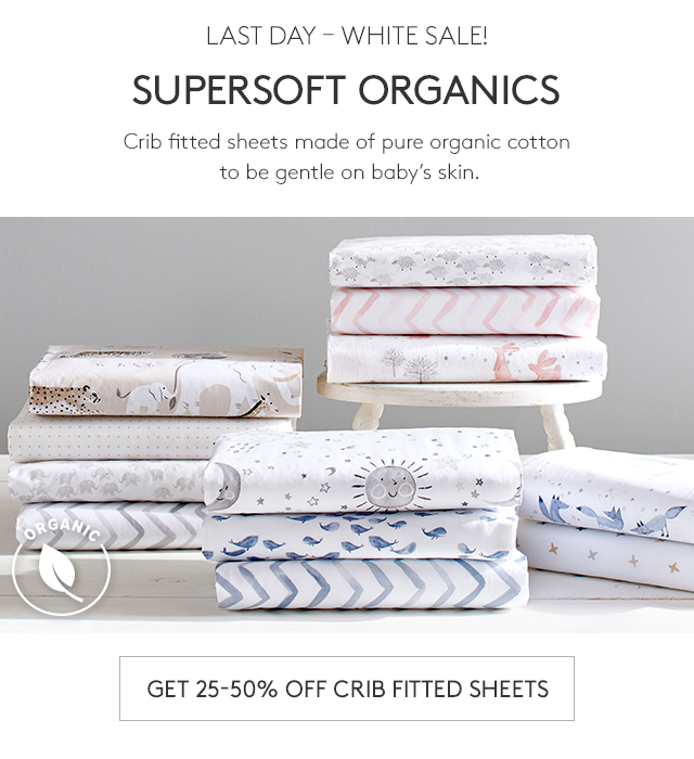 GET 25-50% OFF CRIB FITTED SHEETS