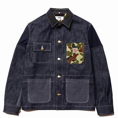 Junya Watanabe MAN  eYe x Carhartt Cotton Denim x Cotton Nylon Back Satin Jacket Indigo x Navy