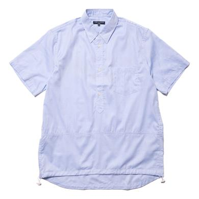 Comme des Garcons HOMME  Cotton Dobby Stripe and Twill Logo Print Shirt Sax/Blue