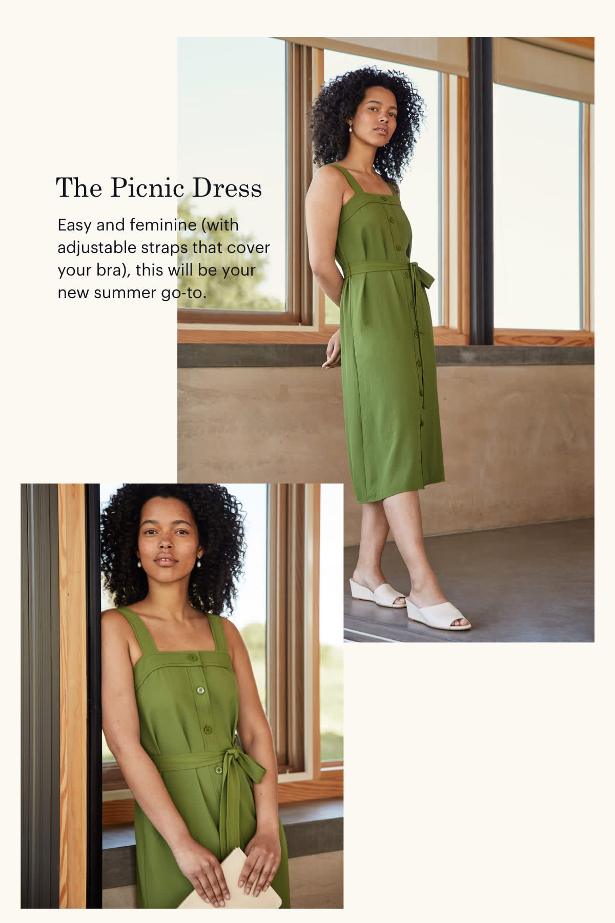 The Picnic Dress. Easy and feminine (with adjustable straps that cover your bra), this will be your new summer go-to.