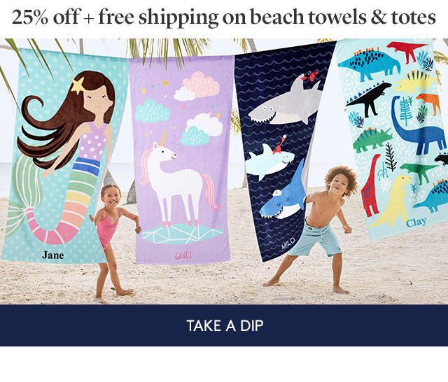 25% OFF + FREE SHIPPING ON BEACH TOWELS AND TOTES