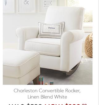 CHARLESTON CONVERTIBLE ROCKER, LINEN BLEND WHITE