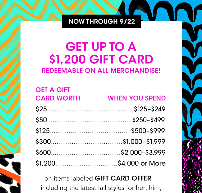 GET UP TO A $1200 GIFT CARD REDEEMABLE ON ALL MERCHANDISE