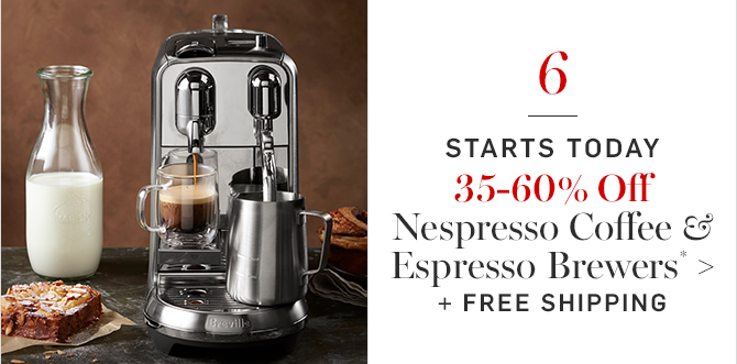 35–60% Off Nespresso Coffee & Espresso Brewers* + FREE SHIPPING