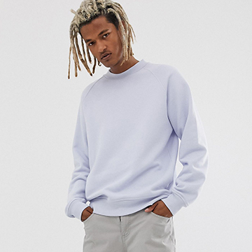 ASOS WHITE oversized sweatshirt in heavyweight pastel blue jersey