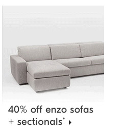 40% off enzo sofas + sectionals